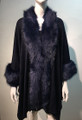 New! Elegant Women's - Faux Fur  Poncho Cape Navy # P218-6