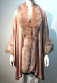 New! Elegant Women's - Faux Fur  Poncho Cape Pink # P218-7