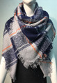 Womens Stylish Shawl  Scarf Navy # S 978-4