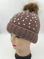 Knit  Rhinestone Hats with Fur Ball Khaiki Dozen #H1172