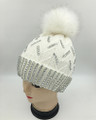 New! Knit Rhinestone Hats with Fur Ball Assorted Dozen #H1238