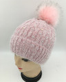 New! Knit  Rhinestone Hats with Fur Ball Assorted Dozen #H1247