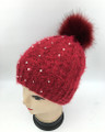 New! Knit  Cable Rhinestone Hats with Fur Ball Assorted Dozen #H1248