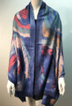 New ! Large Soft Tie-dye Cashmere Feel Scarf  Navy # 965-4