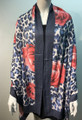 New ! Large Soft  Leopard Cashmere Feel Scarf  Navy # 968-1