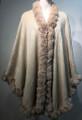 New! Elegant Women's - Faux Fur  Poncho Cape beige # P220-3