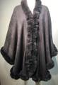 New! Elegant Women's - Faux Fur  Poncho Cape gray # P220-4