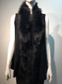 New! Elegant Women's - Faux Fur  Poncho Vest  Cape Black # P222-1