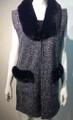 New! Elegant Women's - Faux Fur  Poncho  Cape  Navy # P223-3
