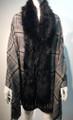 New! Elegant Women's - Faux Fur  Poncho  shawl  Black # P224-1
