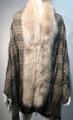 New! Elegant Women's - Faux Fur  Poncho  shawl  Gray # P224-2