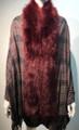 New! Elegant Women's - Faux Fur  Poncho  shawl  Burgundy # P224-6