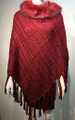 New ! Ladies' Stylish  Poncho Burgundy # P053F-4