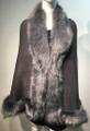 Elegant Women's - Faux Fur  Poncho Cape Gray # P207B-3