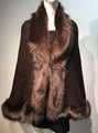 Elegant Women's - Faux Fur  Poncho Cape Coffee # P207B-7