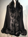 Elegant Women's - Faux Fur  Poncho Cape Black # P20BL-1