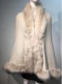 Elegant Women's - Faux Fur  Poncho Cape Beige # P207B-2