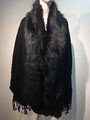 New! Elegant Women's - Faux Fur  Poncho  shawl  Black # F225-1
