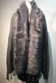 New! Elegant Women's - Faux Fur  Poncho  shawl  Dark Gray # F225-7