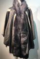 New! Elegant Women's - Faux Fur  Poncho  Hooded Cape  Black / Gray # P226-1