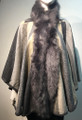 New! Elegant Women's - Faux Fur  Poncho  Hooded Cape  Gray # P226-2