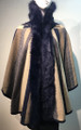 New! Elegant Women's - Faux Fur  Poncho  Hooded Cape  Navy # P226-4