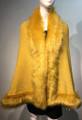 Elegant Women's - Faux Fur  Poncho Cape Mustard Yellow # P207B-12