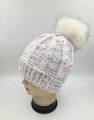 New! Fashion Chenille Cable Hats with Fur Ball Assorted Dozen #H1231