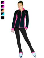 "ChloeNoel Figure Skating Outfit - JS792 Color Contrast Elite Figure Skating Jacket w/ Pockets & Thumb Holes and PS792 3"" Waist Band Black/Color Cuffs Elite Figure Skating Pants & Front Pocket"