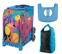 Zuca Sport Bag - Toucan Dream with Gift Seat Cover and Stuff Sack (Blue Frame)