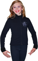 ChloeNoel J11 Solid Polar Fleece Fitted Jacket w/ Mini Blue Ribbon Crystals