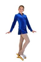 ChloeNoel JV01 Velvet with Crystals Front Jacket (Royal)