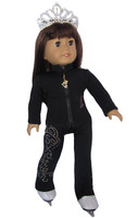 """18"""" Doll Ice Skating Outfit (black)"""