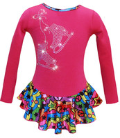 "Pink ""Peace & Stars"" Ice Skating Dress with ""Pair of Skates"" design"