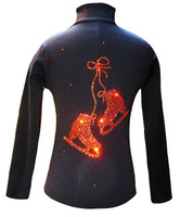 "Black ice Skating Jacket with Orange  ""Pair of skates"" rhinestone applique"