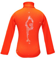 "Orange ice Skating Jacket with  ""Biellmann"" rhinestone applique"