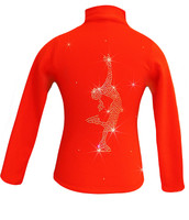 """Orange ice Skating Jacket with  """"Layback"""" rhinestone applique"""