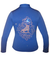 "Blue jacket with ""Skate & ornament"" Applique"