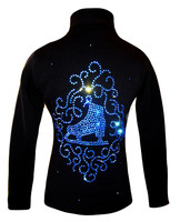 "Black Jacket with blue crystals ""Skate & Ornament"" applique"