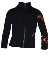 "Ice Skating Jacket with  ""Orange Spiral Hearts"" Rhinestones Design"