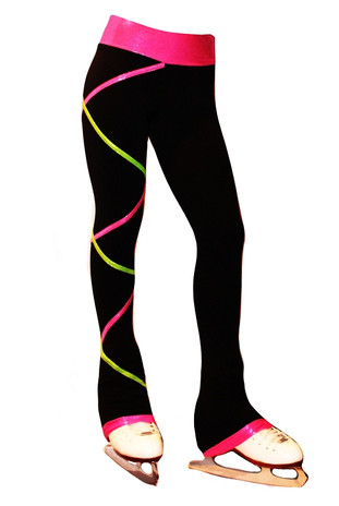 Criss Cross Poly Spandex Ice Skating Pants Pink Lime Xp111
