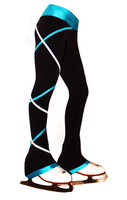 Criss Cross Poly Spandex Ice Skating Pants Silver/Turquoise  XP311
