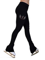 ChloeNoel P22X All Black 3Inch Waist Band Skate Pants with crystal design - Love Skate (White)