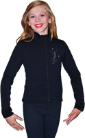 ChloeNoel J11 Solid Polar Fleece Fitted Jacket w/ Mini Jump Skater Crystals