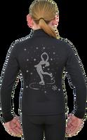 ChloeNoel J11 Solid Polar Fleece Fitted Jacket w/ Spinning Skater Crystals