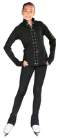 "ChloeNoel PS792 3"" Waist Band Black/Color Cuffs  Elite Pants & Front Pocket & Swarovski Crystal Block"
