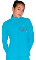 ChloeNoel JT811 Solid  Fleece Fitted  Elite Jacket w/ Skate/Fuchsia Snowflakes Crystals Combination