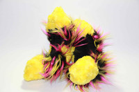 Figure Skating Fuzzy Soakers -CF26 - Yellow Fuzzy Fur with Hot Pink, Yellow and Black Crazy Fur