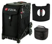 Zuca Sport Bag - Obsidian  with Gift Lunchbox and Seat Cover (Black Non-Flashing Wheels  Frame)