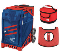 Zuca Sport Bag - Puerto Rico  with Gift Lunchbox and Seat Cover (Red Frame)